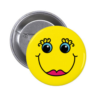 Yellow Lady Smiley Face 2 Inch Round Button