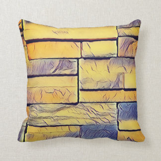 Yellow Lavender Funky Layers of Bricks Cushion