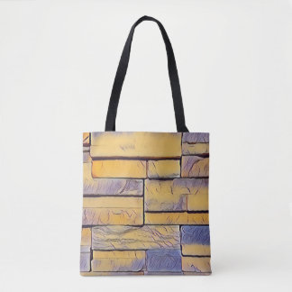 Yellow Lavender Funky Layers of Bricks Tote Bag