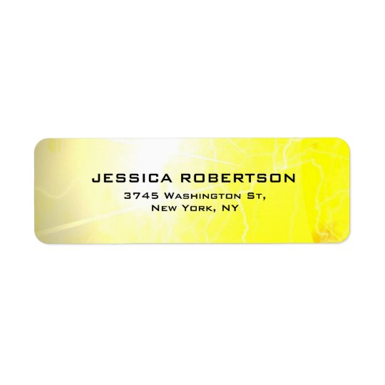 Yellow Legible Plain Elegant Modern Minimalist Return Address Label