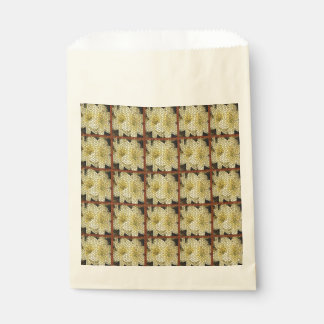 Yellow Lilies Brown Squares Mosaics Favor Bags