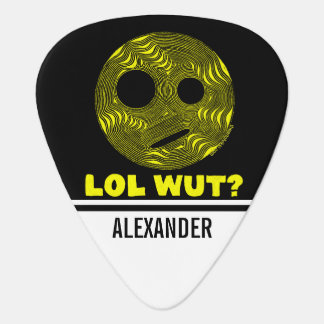 Yellow LOL WUT? Silly Smiley Face Funny Custom Guitar Pick