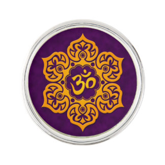 Yellow Lotus Flower Om on Purple Lapel Pin