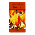 yellow maple leaves wine bottle label