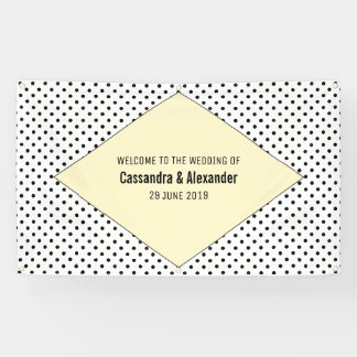Yellow Modern Polka Dots Wedding Banner