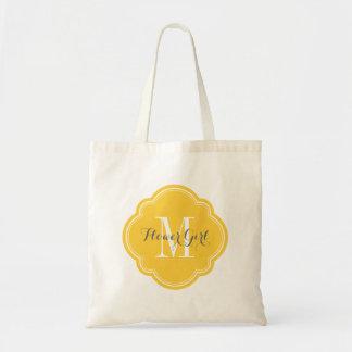 Yellow Monogram Flower Girl Tote Bag