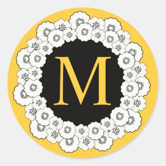 Yellow Monogram M Floral Wedding Sticker