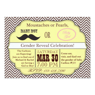Yellow Moustache or Pearls Gender Reveal Invite