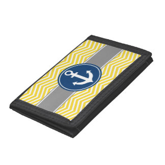Yellow Nautical Anchor Chevron Tri-fold Wallets