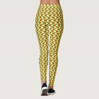 Yellow Ochre Houndstooth with dogs Leggings