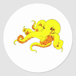Yellow Octopus Round Stickers