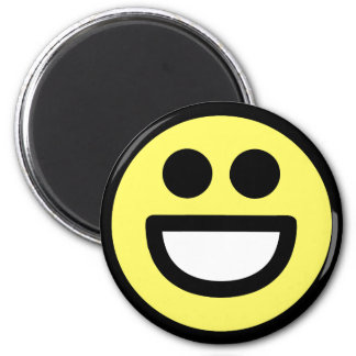Yellow Open Mouth Smiley Face 6 Cm Round Magnet