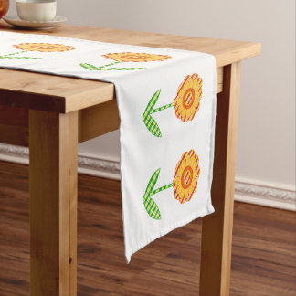 Yellow Orange And Green Plaid Floral Table Runner
