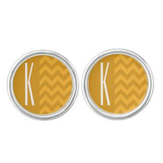 Yellow Orange Chevron Stripes Cuff Links