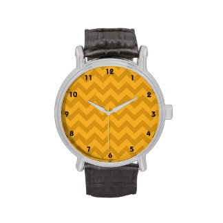 Yellow Orange Chevron Stripes Watch