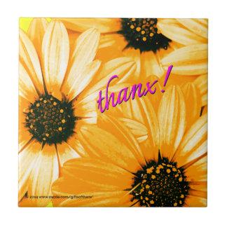 Yellow Orange Daisies thanx - Ceramic Tile