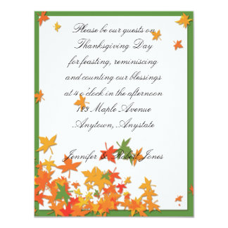 Yellow Orange Fall Leaves on Green Thanksgiving Card