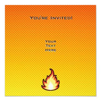 Yellow Orange Fire Flame 13 Cm X 13 Cm Square Invitation Card