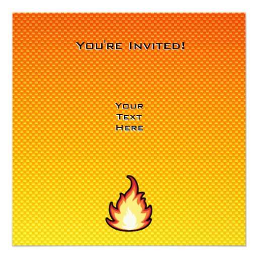 Yellow Orange Fire Flame Personalized Announcement