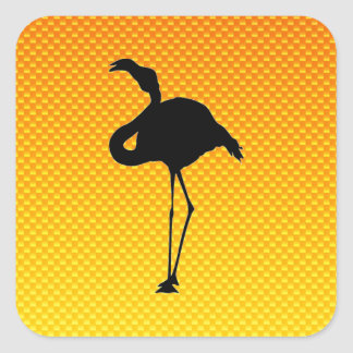 Yellow Orange Flamingo Square Stickers