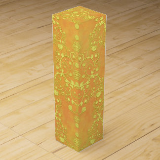 Yellow Orange Golden Damask Pattern Wine Gift Box