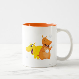 Yellow & Orange Hippo Two-Tone Coffee Mug