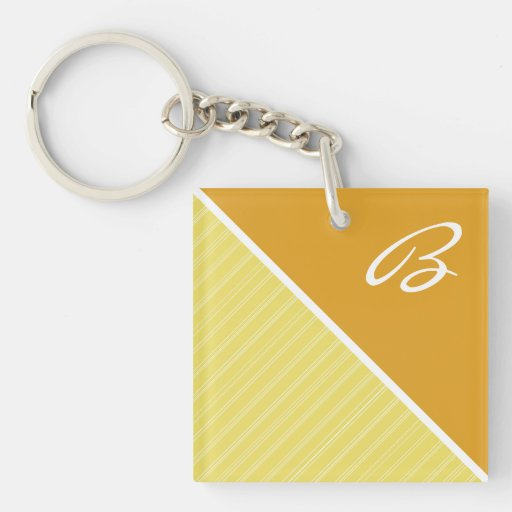 Yellow Orange Square Acrylic Key Chains