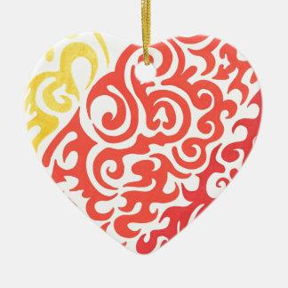 Yellow Orange Red Swirl Ceramic Heart Decoration