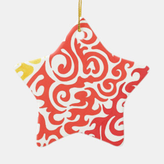 Yellow Orange Red Swirl Ceramic Star Decoration