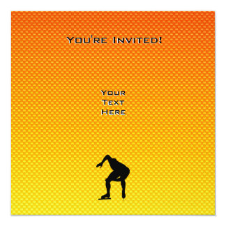 Yellow Orange Speed Skater 5.25x5.25 Square Paper Invitation Card