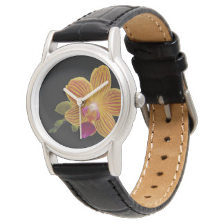 Yellow Orchid Flower Wristwatch