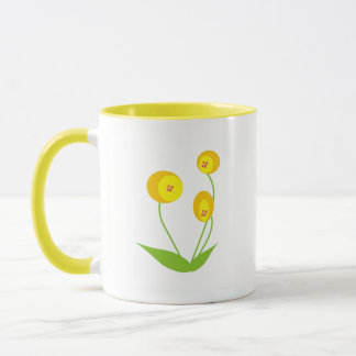 Yellow Oval Flowers Mug