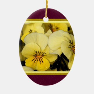 Yellow Pansies Christmas Ornament