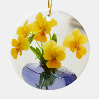 Yellow Pansies Purple Vase Pansy Flowers Spa Bath Round Ceramic Decoration