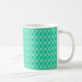 Yellow Pattern with Green Background Coffee Mug