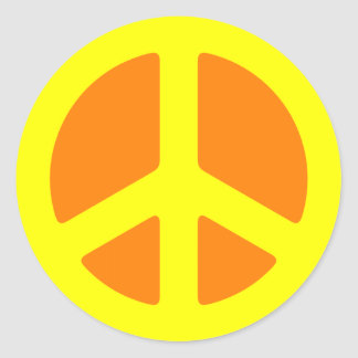 Yellow Peace Sign Round Sticker