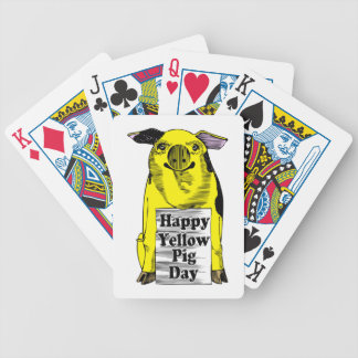 Yellow Pig Day (Pig With Sign) Bicycle Playing Cards