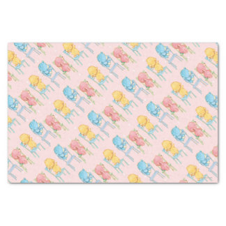 Yellow, Pink, and Blue Bears on Chairs Tissue Paper