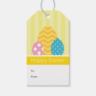 Easter eggs gift tags zazzle yellow pink blue eggs happy easter gift tags negle Image collections