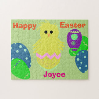 Yellow Pink Chick Eggs Easter Personalized NAME Jigsaw Puzzle
