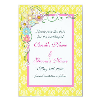 Yellow Pink Floral Spring Wedding Save the Date Card