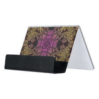 Yellow Pink Purple Abstract Desk Business Card Holder