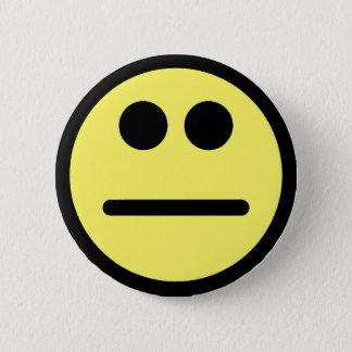 Yellow Poker Face Stare Smiley Face 6 Cm Round Badge