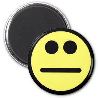 Yellow Poker Face Stare Smiley Face 6 Cm Round Magnet