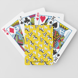 Yellow Polka Dot Baby Animals Bicycle Playing Cards
