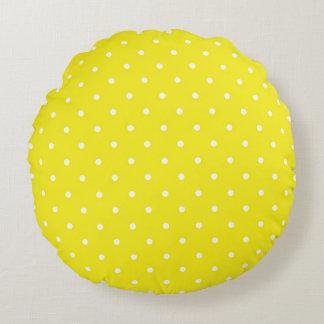 Yellow Polka Dot Design Round Cushion