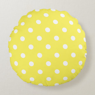 Yellow Polka Dot Round Cushion