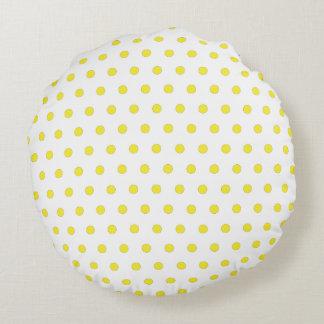 Yellow Polka Dot Throw Pillow Round Cushion