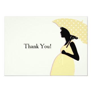 Yellow Polka Dot Umbrella Thank You Notecard