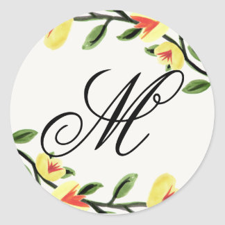 Yellow Poppies Monogram Stickers